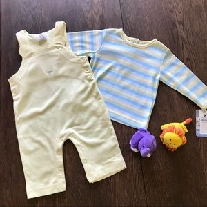 NWT Carter's Yellow Knit Overalls & Striped Shirt